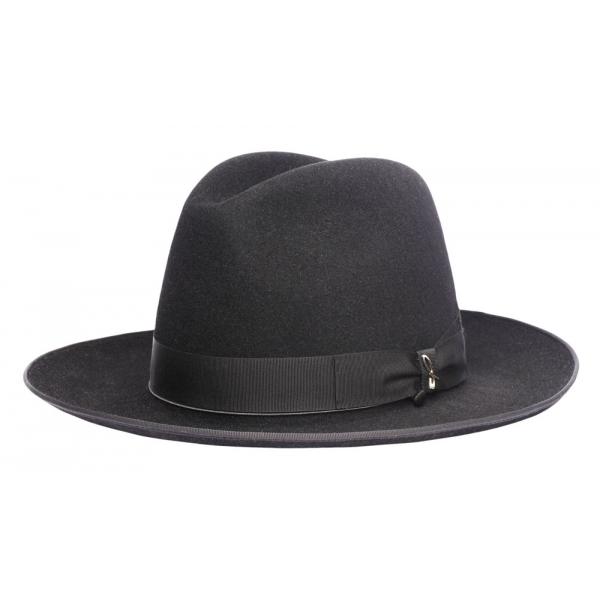 Doria 1905 - Wolf - Fedora Hat Large Brim Black - Accessories - Handmade Artisan Italian Cap