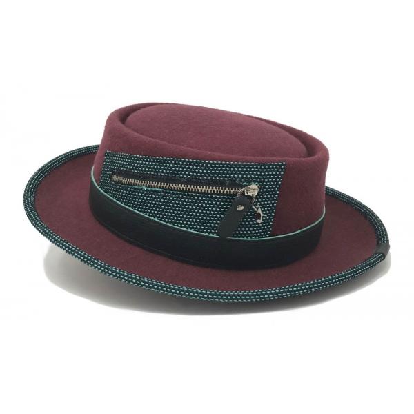Doria 1905 - Aston - Cappello Pork-Pie Porto Ottanio Nero - Accessori - Cappello Artigianale Italiano