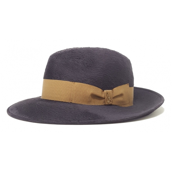 Doria 1905 - Vlad - Fedora Hat Graphite Walnut - Accessories - Handmade Artisan Italian Cap