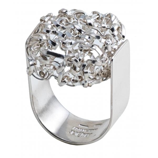 Ab Ove - Anello Intreccio Quadrato in Argento - Collezione Intreccio - Anello Artigianale - Alta Qualità Luxury