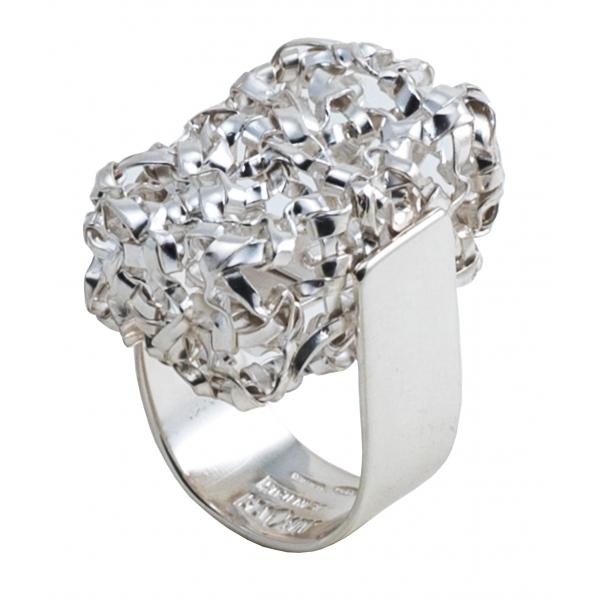 Ab Ove - Anello Intreccio Rettangolare in Argento - Collezione Intreccio - Anello Artigianale - Alta Qualità Luxury