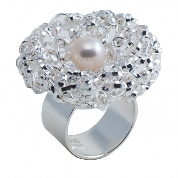 Ab Ove - Twine Round Ring in Silver with White River Pearl - Twine Collection - Handcrafted Ring - High Quality Luxury