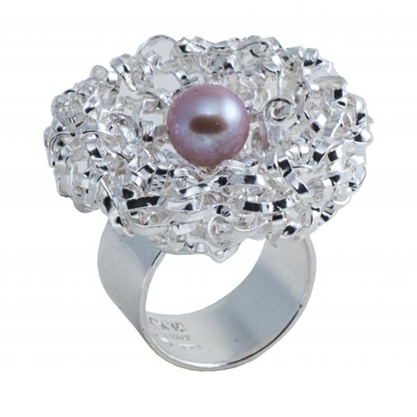 Ab Ove - Anello Rotondo in Argento con Perla River Rosa - Collezione Intreccio - Anello Artigianale - Alta Qualità Luxury