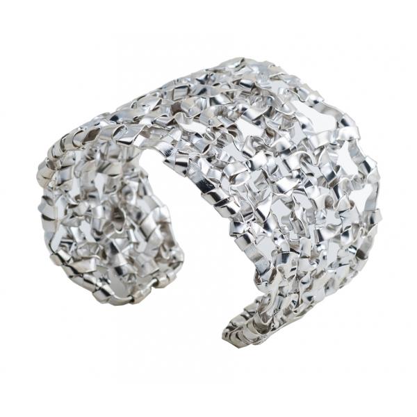 Ab Ove - Bracciale Schiava Intreccio Argento - Twin Collection - Bracciale Artigianale - Alta Qualità Luxury