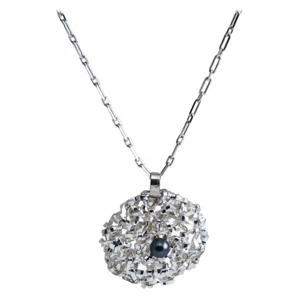 Ab Ove - Pendente Rotondo Grande in Argento con Perla Rver - Collezione Intreccio - Collana Artigianale - Alta Qualità Luxury