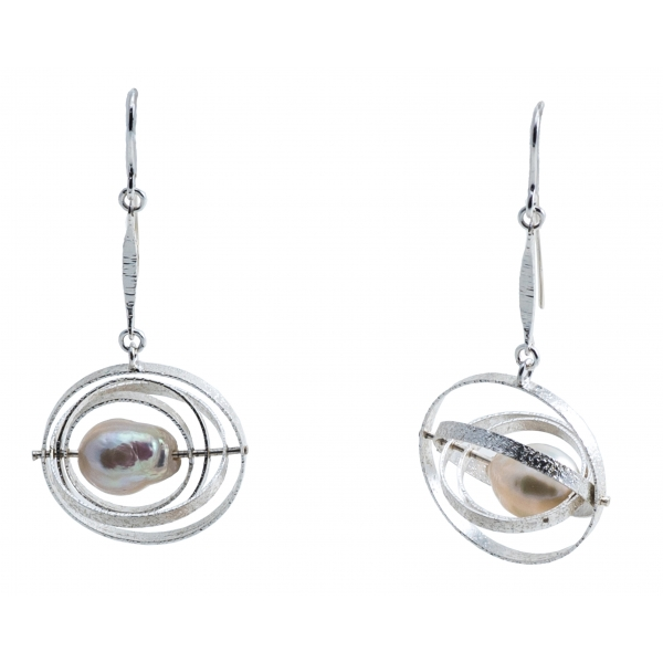 Ab Ove - Earrings in Silver with River Baroque Pearls - Kinetic Collection - Handcrafted Earrings - High Quality Luxury
