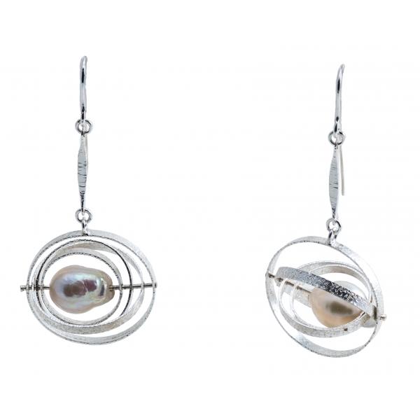 Ab Ove - Orecchini in Argento con Perle River Barocche - Collezione Cinetica - Orecchini Artigianali - Alta Qualità Luxury
