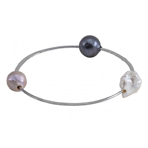 Ab Ove - Bracciale in Argento con Tre Perle Barocche River - Collezione Venere - Bracciale Artigianale - Alta Qualità Luxury