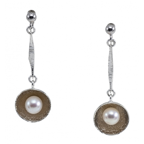 Ab Ove - Earrings in Silver with River Pearls - Venus Collection - Handcrafted Earrings - High Quality Luxury