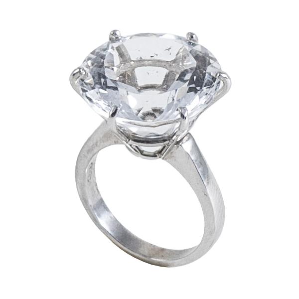 Ab Ove - Anello in Argento con Cristallo di Rocca ct 20 - Collezione Iris - Anello Artigianale - Alta Qualità Luxury