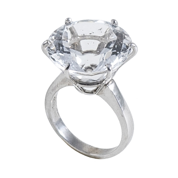Ab Ove - Ring in Silver with Rock Crystal Stone ct 20 - Iris Collection - Handcrafted Ring - High Quality Luxury