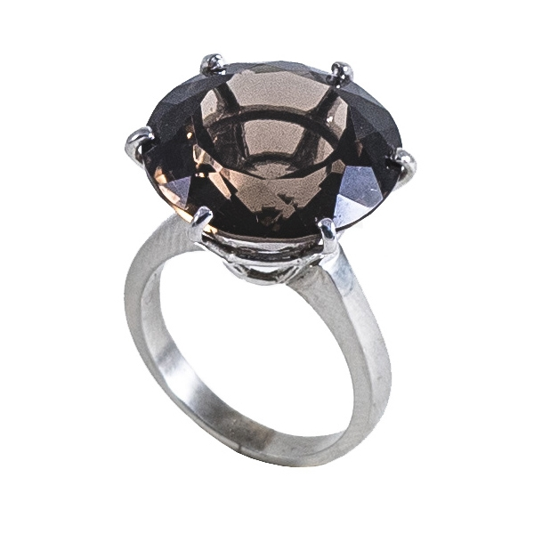Ab Ove - Ring in Silver with Fumè Quartz Stone ct 20 - Iris Collection - Handcrafted Ring - High Quality Luxury