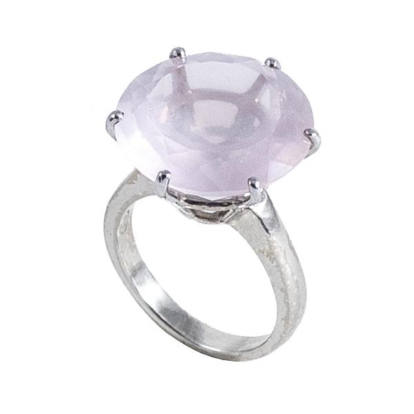 Ab Ove - Anello in Argento con Quarzo Rosa ct 20 - Collezione Iris - Anello Artigianale - Alta Qualità Luxury