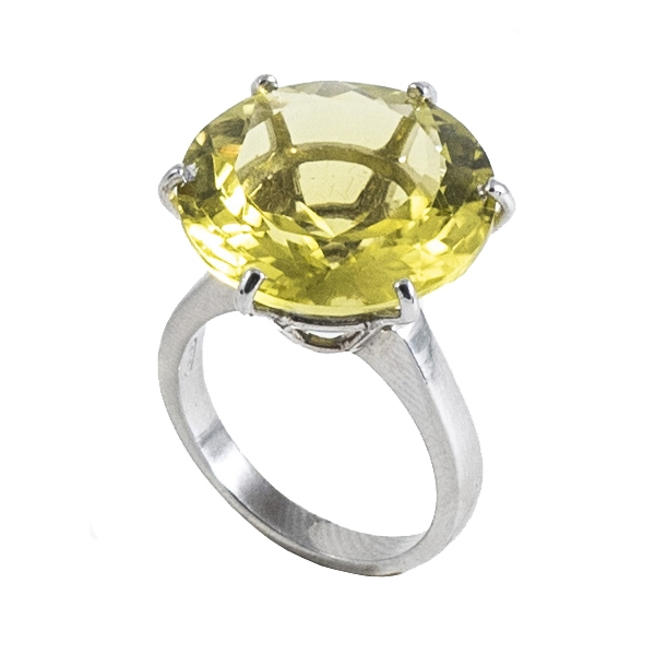 Ab Ove - Ring in Silver with Lemon Quartz Stone ct 20 - Iris Collection - Handcrafted Ring - High Quality Luxury