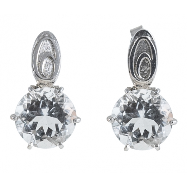 Ab Ove - Earrings in Silver with Rock Crystal Stone ct 20 - Iris Collection - Handcrafted Earrings - High Quality Luxury