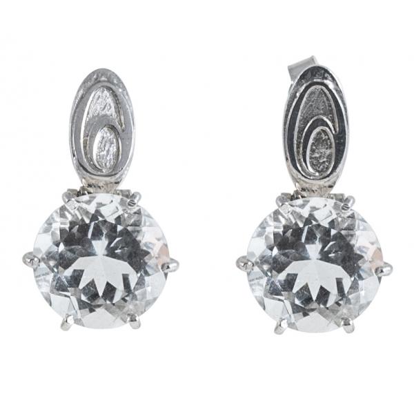 Ab Ove - Orecchini in Argento con Cristallo di Rocca ct 20 - Collezione Iris - Orecchini Artigianali - Alta Qualità Luxury