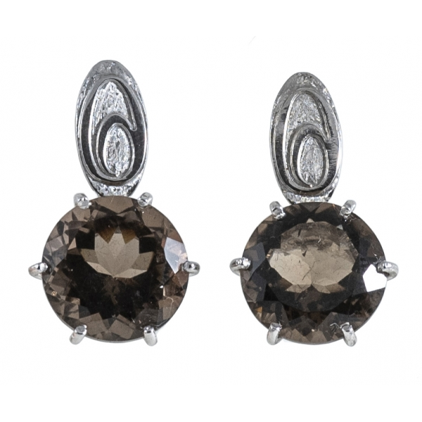 Ab Ove - Earrings in Silver with Fumè Quartz Stone ct 20 - Iris Collection - Handcrafted Earrings - High Quality Luxury