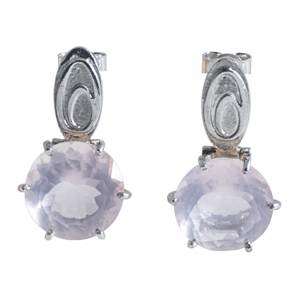 Ab Ove - Earrings in Silver with Pink Quartz Stone ct 20 - Iris Collection - Handcrafted Earrings - High Quality Luxury