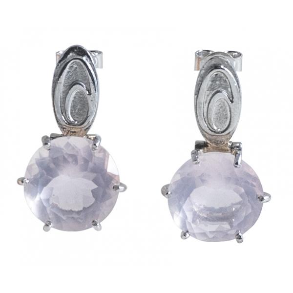 Ab Ove - Orecchini in Argento con Quarzo Rosa ct 20 - Collezione Iris - Orecchini Artigianali - Alta Qualità Luxury