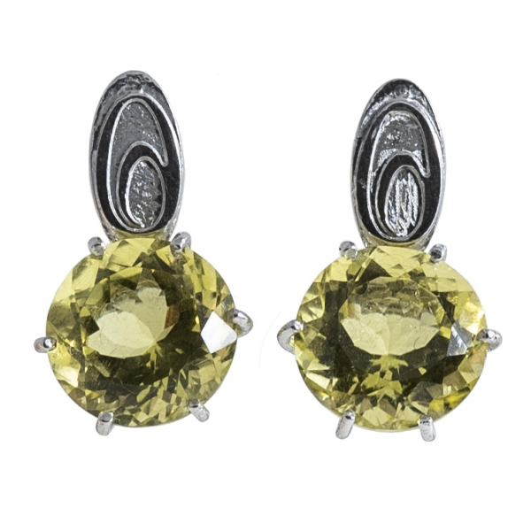 Ab Ove - Earrings in Silver with Lemon Quartz Stone ct 20 - Iris Collection - Handcrafted Earrings - High Quality Luxury