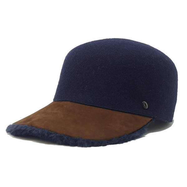 Doria 1905 - Pony - Baseball Cap Night Blue Cognac Blue - Accessories - Handmade Artisan Italian Cap