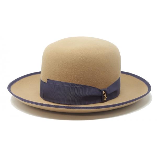 Doria 1905 - Bernard - Boston Bowler Hat Beige Wisteria - Accessories - Handmade Artisan Italian Cap