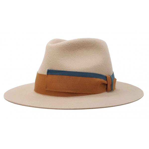 Doria 1905 - Caleb - Cappello a Goccia Nocciola Caramello Petrolio - Accessori - Cappello Artigianale Italiano