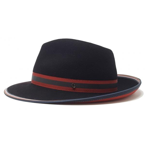 Doria 1905 - Delage - Fedora Hat Saraceno Black Laque Red - Accessories - Handmade Artisan Italian Cap