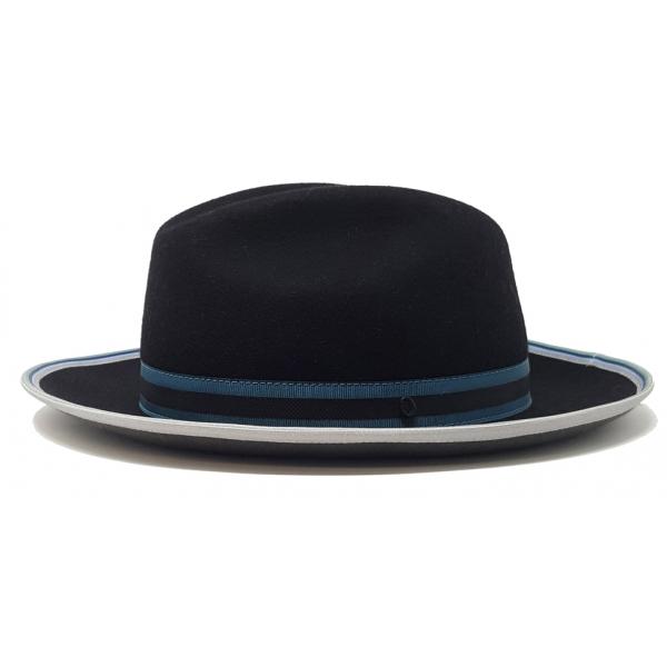 Doria 1905 - Dinamo - Fedora Hat Saraceno Black Grey Petroleum - Accessories - Handmade Artisan Italian Cap