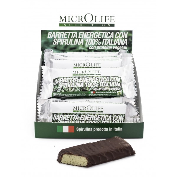 Microlife - Organic Bars - 12 pc Vegan Energy Bar with 100% Italian Organic Spirulina