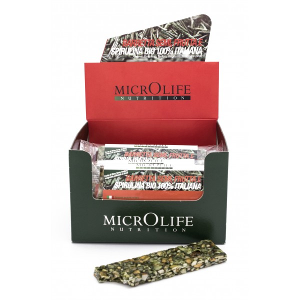 Microlife - Organic Bars - 15 pc Energy Bar with Seeds Fruits and 100% Italian Organic Spirulina