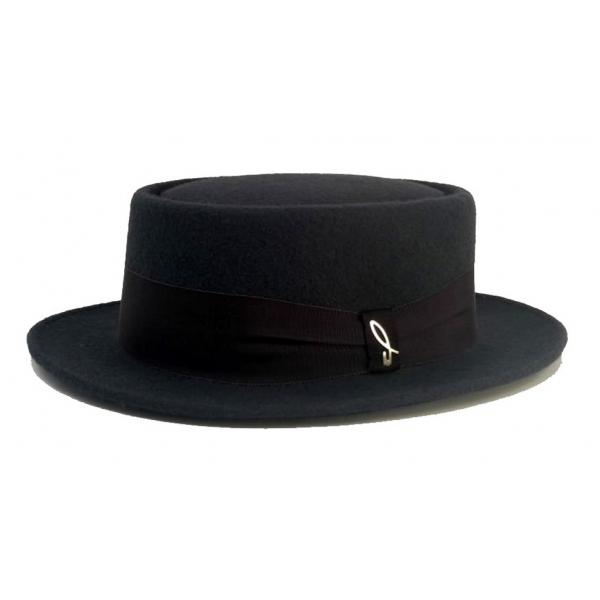Doria 1905 - New Jazz - Cappello Pork-Pie Fumo Negroamaro - Accessori - Cappello Artigianale Italiano