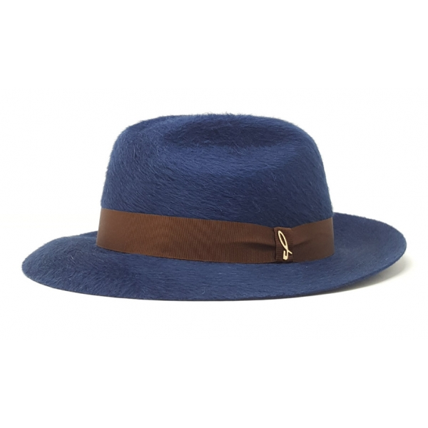 Doria 1905 - Roberto - Fedora Hat Blue Cocoa - Accessories - Handmade Artisan Italian Cap