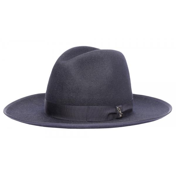 Doria 1905 - Snap - Cappello Fedora Ala Larghissima Blu Notte - Accessori - Cappello Artigianale Italiano