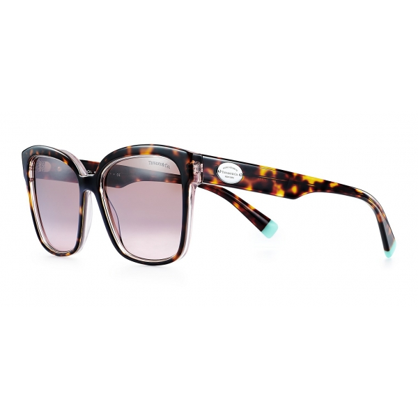 Tiffany & Co. - Occhiale da Sole Quadrati - Tartaruga Rosa Viola Marroni - Collezione Return to Tiffany - Tiffany & Co. Eyewear