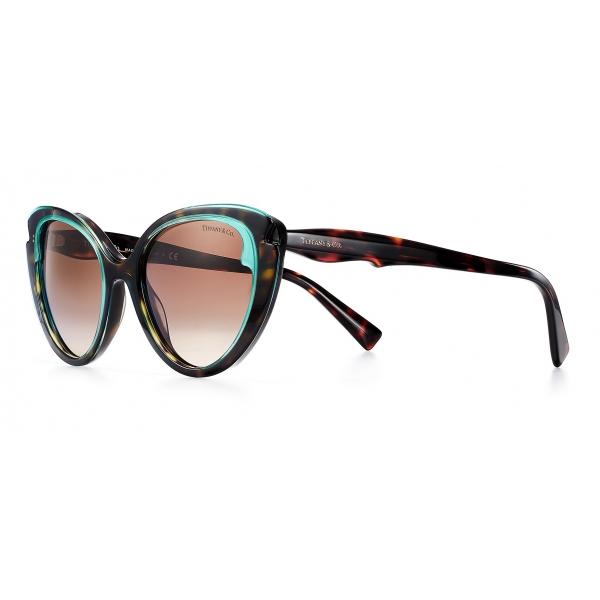 Tiffany & Co. - Occhiale da Sole Cat Eye - Tartaruga Tiffany Blu Marroni - Collezione Paper Flowers - Tiffany & Co. Eyewear