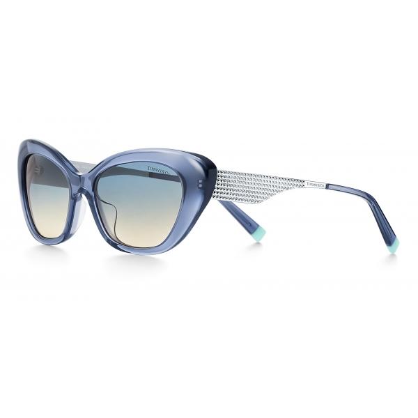 Tiffany & Co. - Occhiale da Sole Cat Eye - Blu Scuro Argentato - Collezione Diamond Point - Tiffany & Co. Eyewear