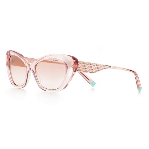 Tiffany & Co. - Occhiale da Sole Cat Eye - Oro Rosa Marroni - Collezione Diamond Point - Tiffany & Co. Eyewear
