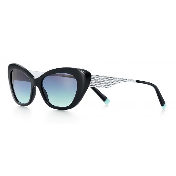 Tiffany & Co. - Occhiale da Sole Cat Eye - Nero Argento Blu - Collezione Diamond Point - Tiffany & Co. Eyewear