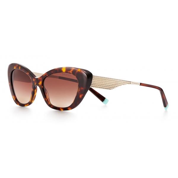 Tiffany & Co. - Occhiale da Sole Cat Eye - Tartaruga Oro Chiaro Marroni  - Collezione Diamond Point - Tiffany & Co. Eyewear