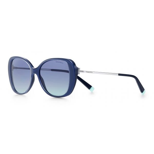 Tiffany & Co. - Occhiale da Sole Butterfly - Blu Scuro Argentato Blu - Collezione Tiffany T - Tiffany & Co. Eyewear