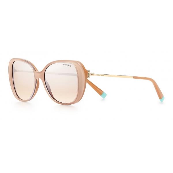 Tiffany & Co. - Occhiale da Sole Butterfly - Beige Dorato Chiaro Marroni Argento - Collezione Tiffany T - Tiffany & Co. Eyewear