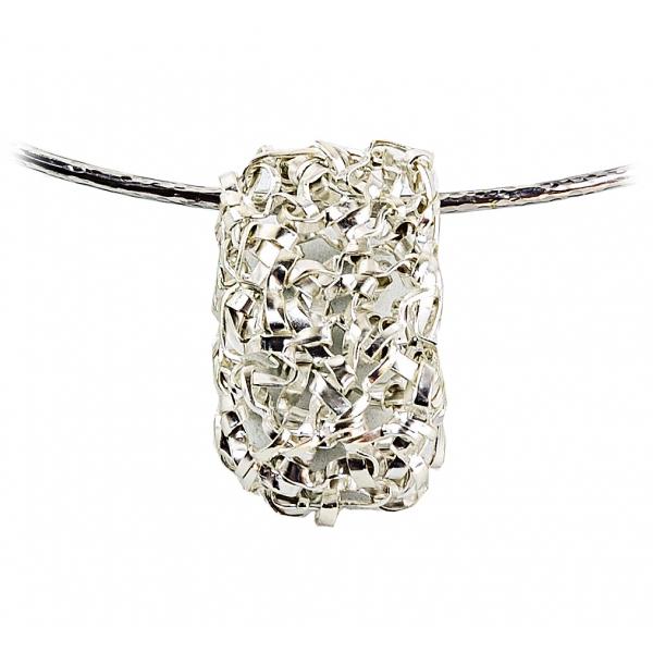 Ab Ove - Pendente Rettangolare in Argento Filo Martellato - Collezione Intreccio - Collana Artigianale - Alta Qualità Luxury