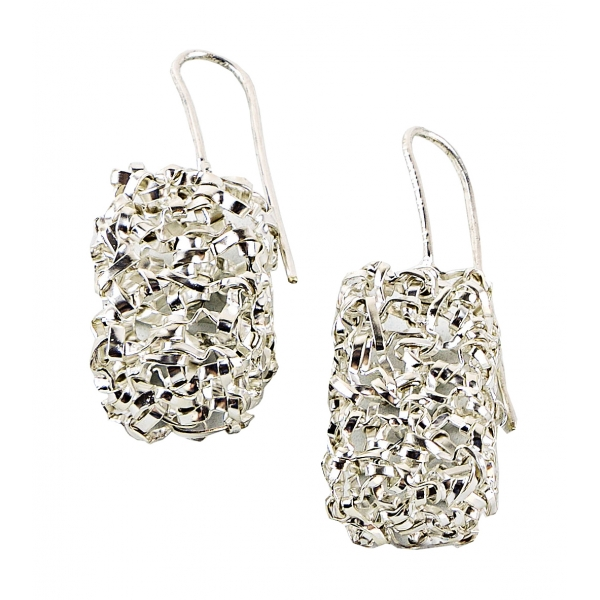 Ab Ove - Twine Rectangular Earrings in Silver - Twine Collection - Handcrafted Earrings - High Quality Luxury