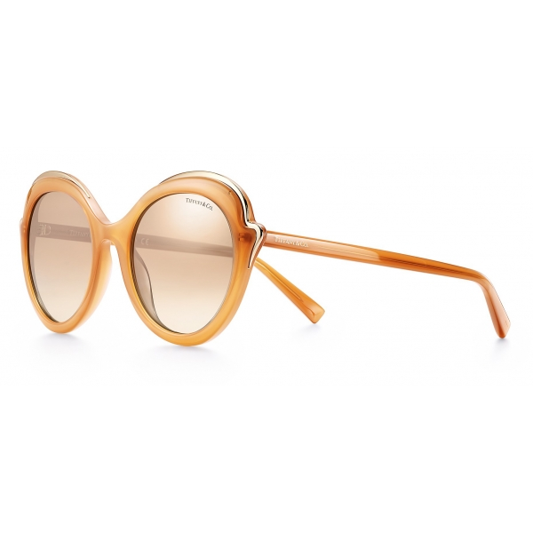 Tiffany & Co. - Occhiale da Sole Cat Eye - Cammello Oro Marroni - Collezione Tiffany Paper Flowers - Tiffany & Co. Eyewear