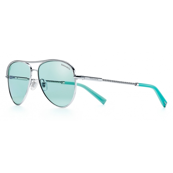 Tiffany & Co. - Occhiale da Sole Pilot - Argento Tiffany Blu - Collezione Diamond Point - Tiffany & Co. Eyewear