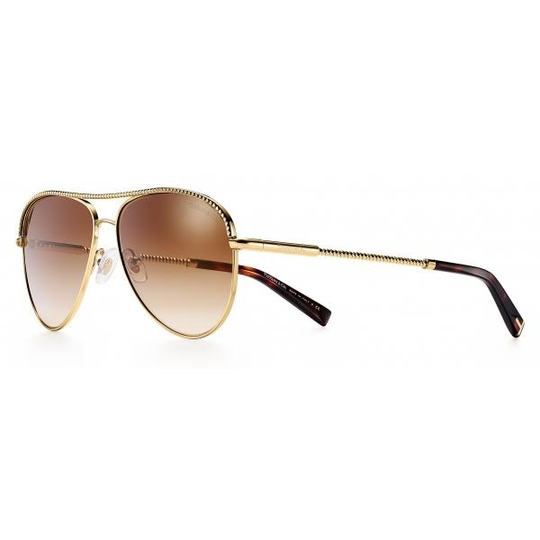 Tiffany & Co. - Occhiale da Sole Pilot - Oro Marroni - Collezione Diamond Point - Tiffany & Co. Eyewear