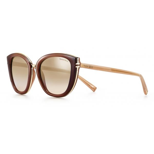 Tiffany & Co. - Occhiale da Sole Quadrati - Beige Opale Marroni Argento - Collezione Tiffany T - Tiffany & Co. Eyewear