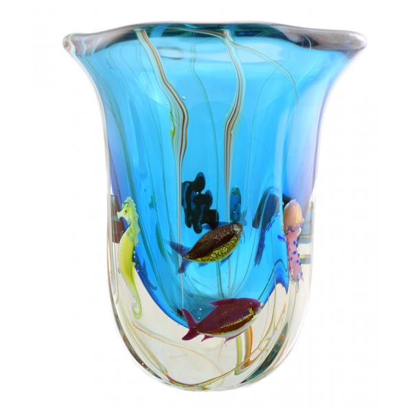 Ars Cenedese Murano - Vaso Acquamare Modern - Vaso Artigianale Veneziano Realizzato a Mano da Maestri Vetrai - Luxury