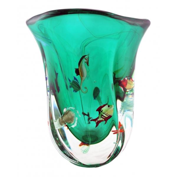 Ars Cenedese Murano - Vaso Acquario Modern - Vaso Artigianale Veneziano Realizzato a Mano da Maestri Vetrai - Luxury